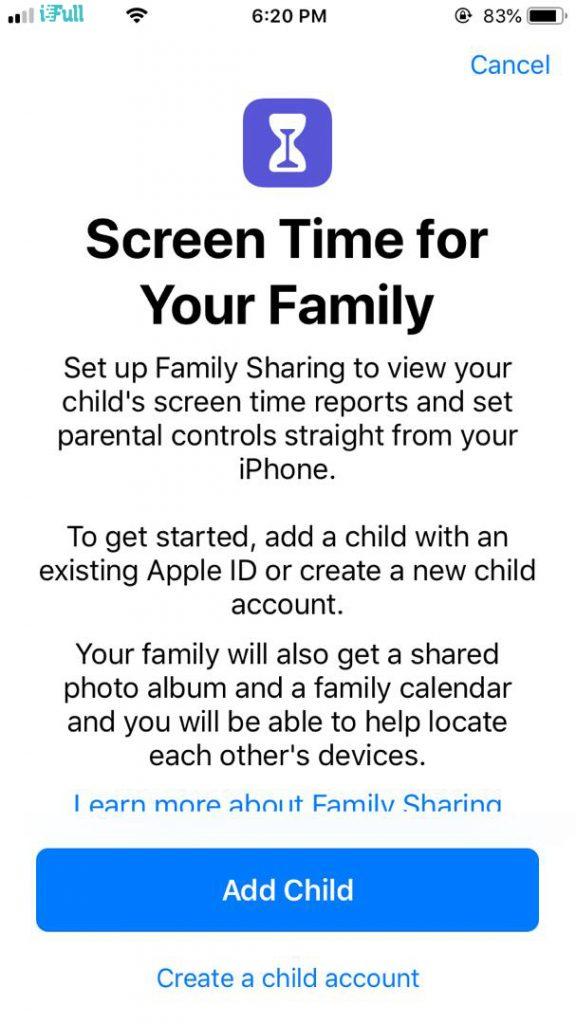 Parental control in iOS 12