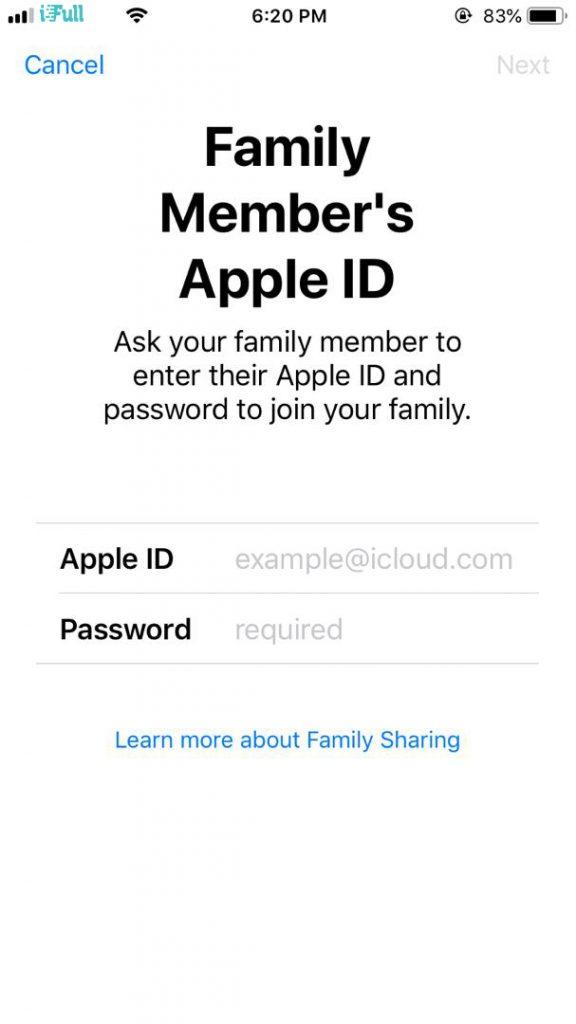 Adding family member's Apple ID