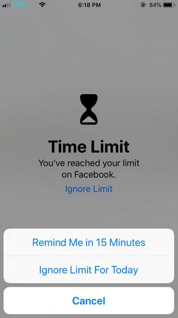 Time limit warning