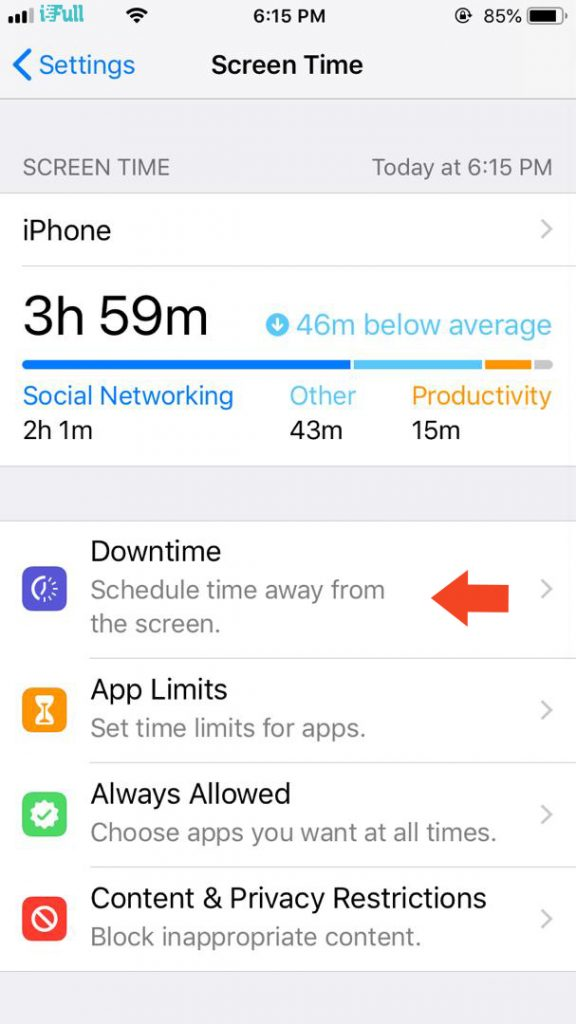 Setting Downtime in iOS 12